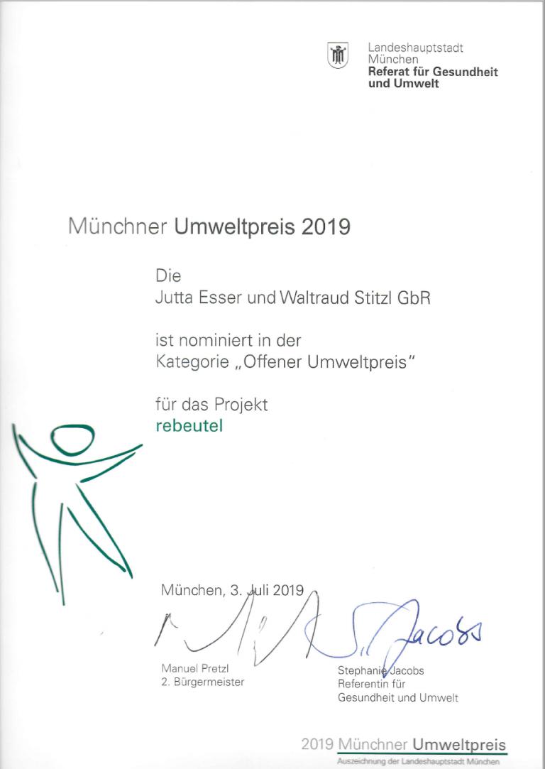 Nominierung zum Münchner Umweltpreis